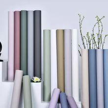 Vinyl Wallpaper   - Morandi Colorful Bedroom Wallpaper PVC Decorative Wall Stickers Waterproof Self Adhesive Contact Wardrobe