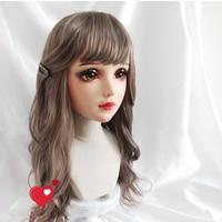 (Fei)Female Sweet Girl Resin Half Head Kigurumi Mask With BJD Eyes Cosplay Japanese Anime Role Lolita Mask Crossdress Doll