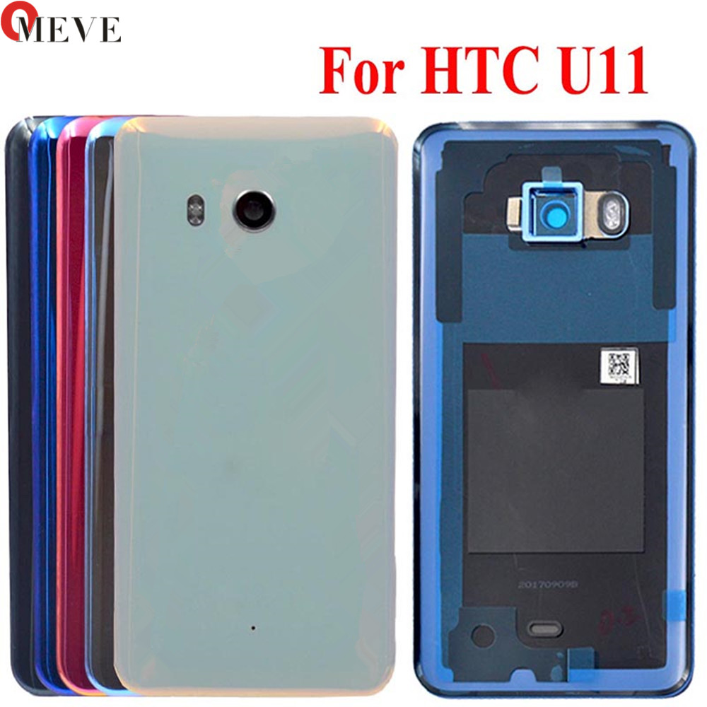 Original Glass Back Rear Housing Door For HTC U11 Back Battery Cover Case With Camera Lens Replacement Parts U-3w W-1w