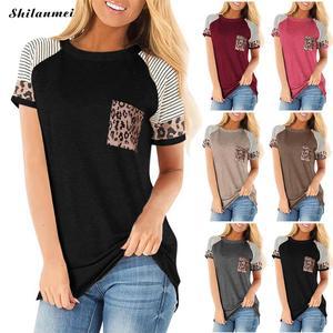 Women Shirt T-Shirt Summer  Tops Slim Short Sleeve T Shirt Women Casual Tops Tee Female Vintage Tee Harajuku Leopard Print Shirt