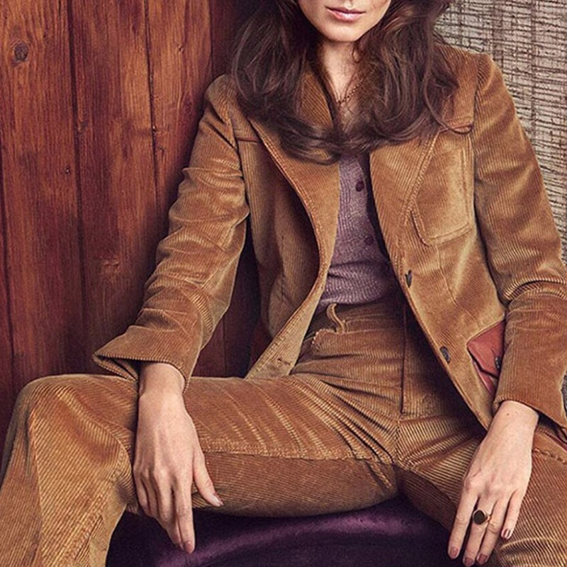 Star Style Western Sets Female Winter Leisure Temperament Corduroy Suit Jacket Two-Piece Sets Turn Down Collar Top Quality Brand