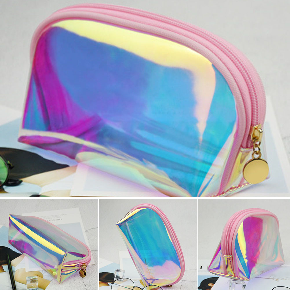 Holographic Makeup Cosmetic Bag Large Pouch Handy Pouch Pencil Toiletries Bag -OPK