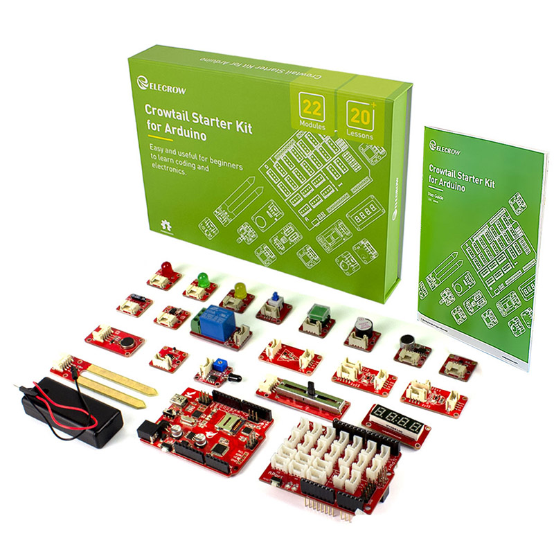 Elecrow Upgraded Version Crowtail Starter Kit For Arduino Electronic DIY Education Programming Learning Kit With 20 Lessons