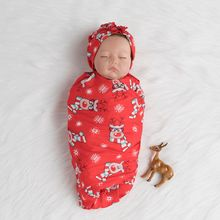 Новорожденный ребенок мягкий Рождество печать красный год одеяла Пеленание младенца спальный мешок и повязка на голову Набор