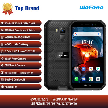 Outdoor IP68 Rugged Waterproof Mobile Phone 4GB RAM 32GB Android10 Smartphone 4G LTE NFC Phone Ulefone Armor X7 Pro Cell Phone