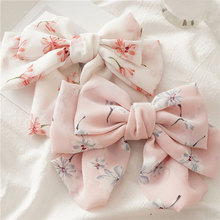 Women Chiffon Floral Printed Barrettes Oversized Bow Hair Clips Three Layers Hairpins Spring Clips Hair Accessories Hairgrips