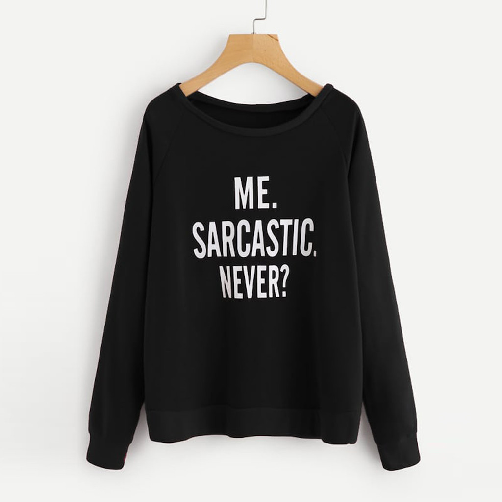 Fashion Women Pullover Sweatshirt Casual O-Neck Long Sleeve Letter Print Tunic Tops And Blouses
