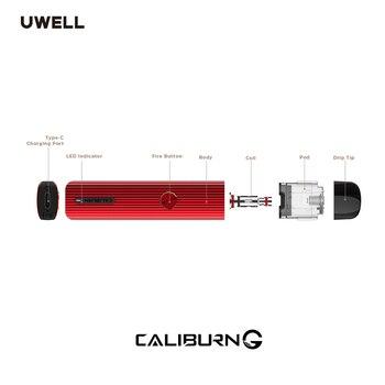 UWELL – Cigarette électronique avec système de dosette Portable Caliburn G, Kit Vape, cartouche de dosette rechargeable 2ml, bobine 0.8 ohm, batterie 15W 690mAh