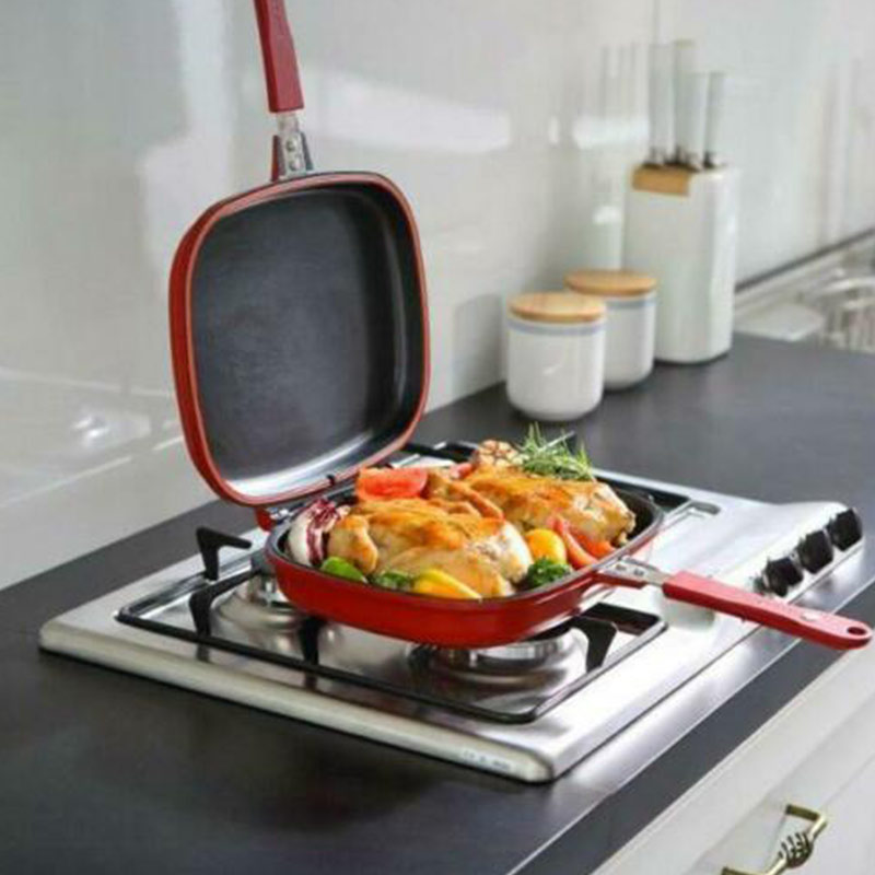 Double-sided Frying Pan Non-stick Baking Tray Portable For Home Kitchen Cooking DTT88