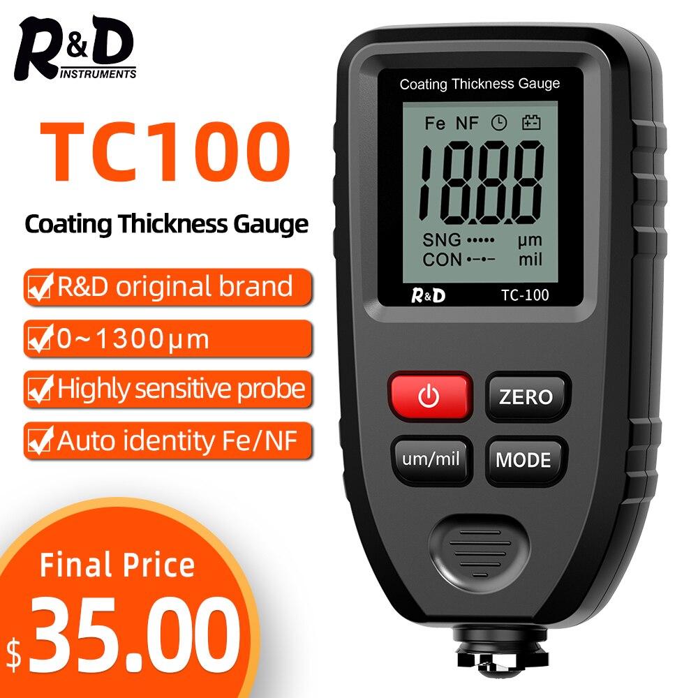 R&D TC100 толщиномер покрытия 0,1 микрон/0-1300 автомобильная краска пленка тестер толщины измеритель измерения FE/NFE русский ручной инструмент крас...