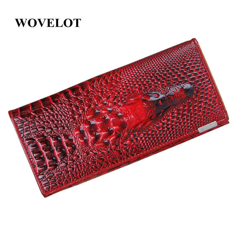 10 Warna Dompet Wanita Dompet Koin Pemegang Kulit Asli 3D Embossing Alligator Wanita Buaya Panjang Clutch Tas
