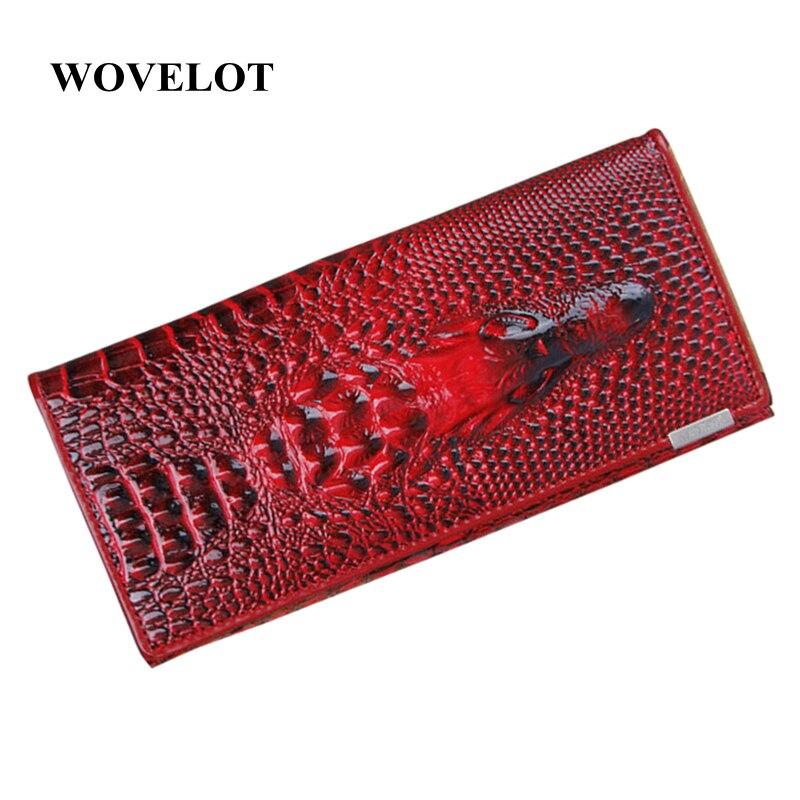 10 couleurs femmes portefeuille femme porte-monnaie porte-monnaie en cuir véritable 3D gaufrage Alligator dames Crocodile longue pochette