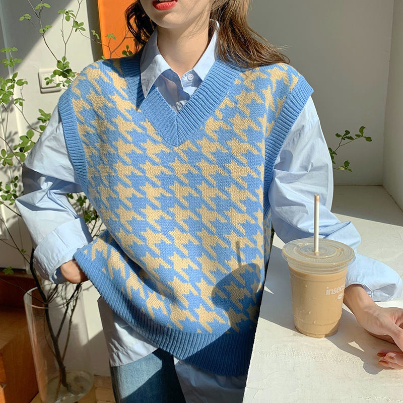 H29109767fb7d4476a746168c976ee17bn Women Sweater Vest Autumn Houndstooth Plaid V-neck Sleeveless Knitted Vintage Loose Oversized Female Sweater Vest Tops