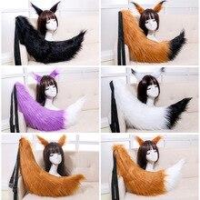 Bandeau à queue longue fourrure avec motif Anime de renard, Animal, accessoire de Cosplay, carnaval, tenue fantaisie pour noël