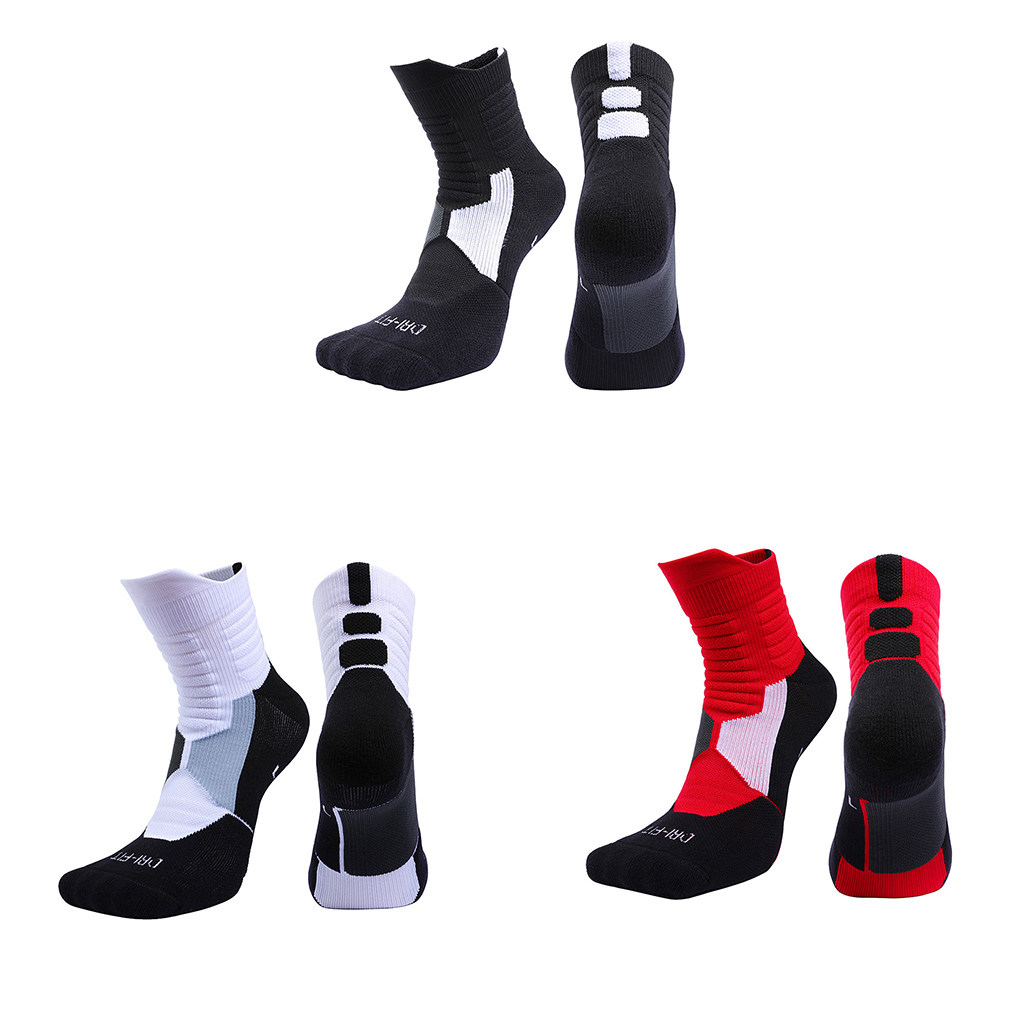A0NIJIE Sports Socks Middle Stockings Men Women Cotton Thickening Absorption Sweat Anti-skid Basketball Hose