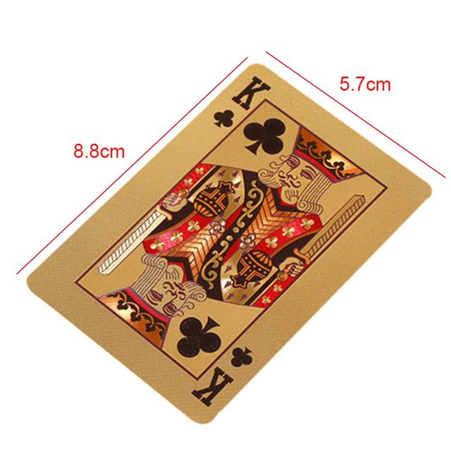 24K Gold Playing Cards Poker Game Deck Gold Foil Poker Set Plastic Magic Card Waterproof Cards Magic 2
