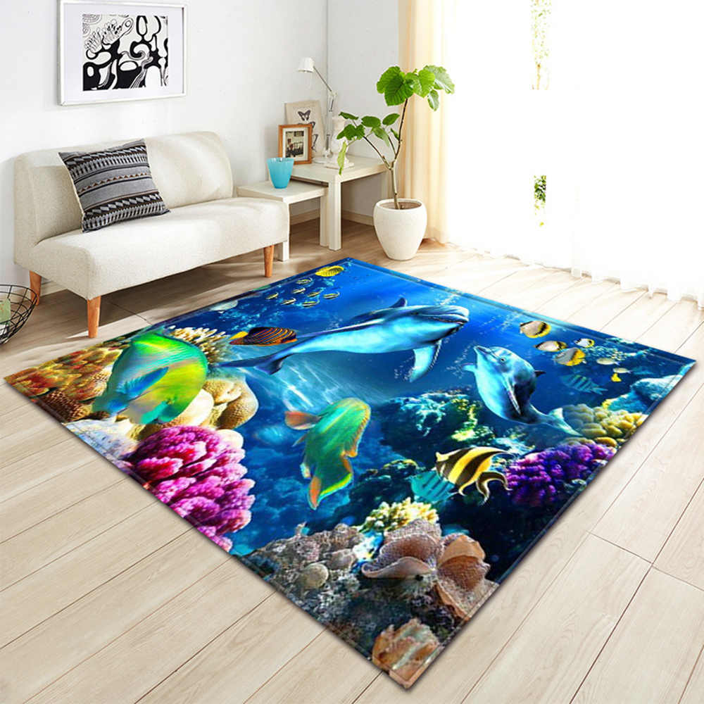 3D Underwater World Pattern Living Room Coffee Table Decoration Non-slip Large Carpet Bedroom Tatami Mat Children's Room Carpet