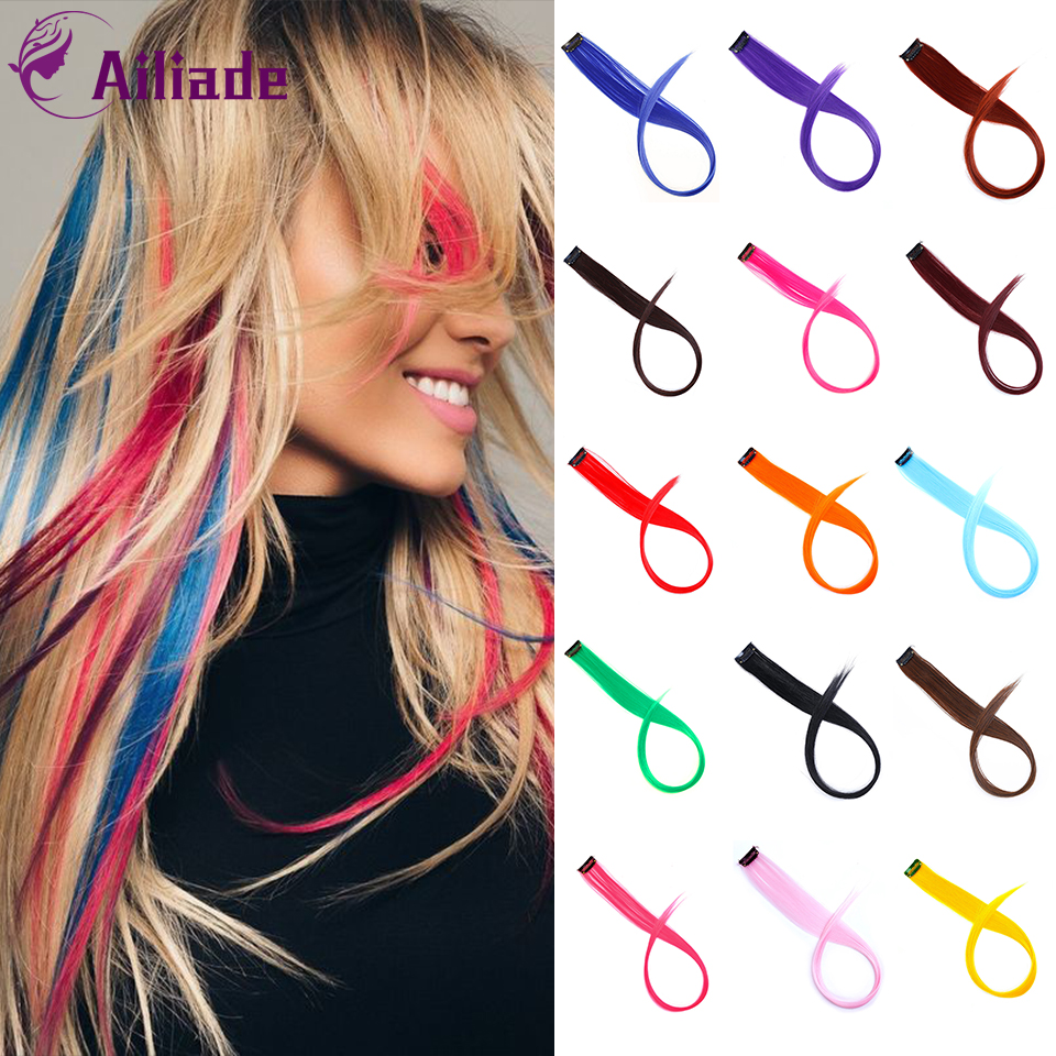 AILIADE Straight Fake Colored Hair Extensions Clip Rainbow Hair Streak Synthetic Pink Orange White Purple Hair Strands On Clips