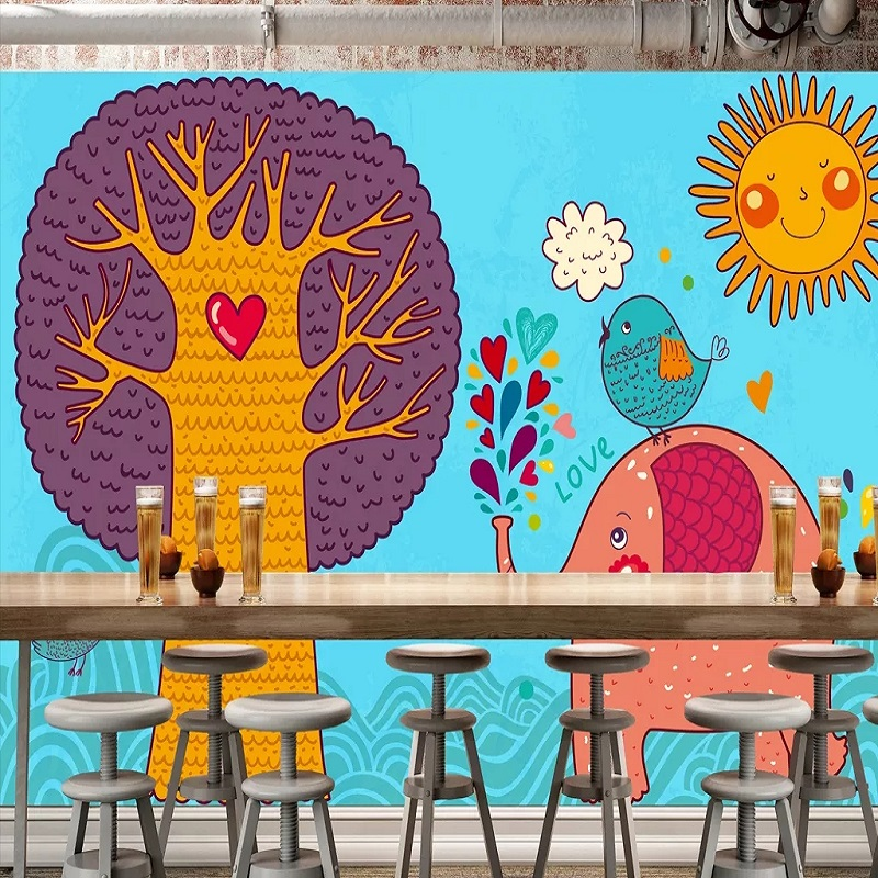 New Custom Large Mural 3D Wallpaper Cute Nordic Elephant Tree Sun Children's Bedroom Mural TV Back Wall Decor Deep 5D Embossed