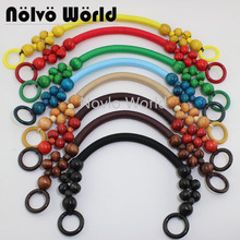 "100 pieces=50 pairs, 9 Colors Long 51cm 20"" Wood Beads Rope Handle for women bags,Vintage Bead Rope Purse Handle Wholesale"