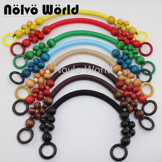 """100 pieces=50 pairs, 9 Colors Long 51cm 20"""" Wood Beads Rope Handle for women bags,Vintage Bead Rope Purse Handle Wholesale"""