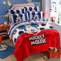 Red Blue Mickey Mouse Quilt Duvet Covers Full Size Bedding Set for Kids Room Children's Bed Linens Queen Bedspread Disney Print