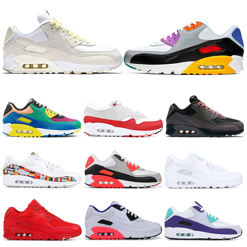 New Running Shoes Mens 90 Laser Fuchsia VIOTECH University Red Grape International Triple White Black Sports Sneakers Trainers