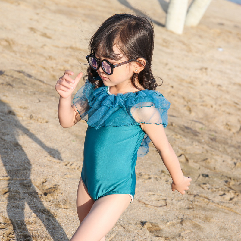 South Korea Lace Gauze GIRL'S One-piece Swimming Suit Sweet Fashion Multilayer V Back CHILDREN'S Swimsuit Hot Selling Hot Sellin