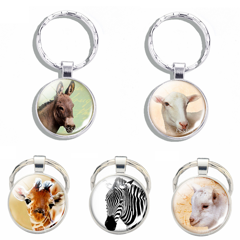 Giraffe Donkey Zebra Sheep Round Photo Animal Keychain Car Key Chain Glass Cabochon Jewelry Cute Pet Pendant Women Men Gift