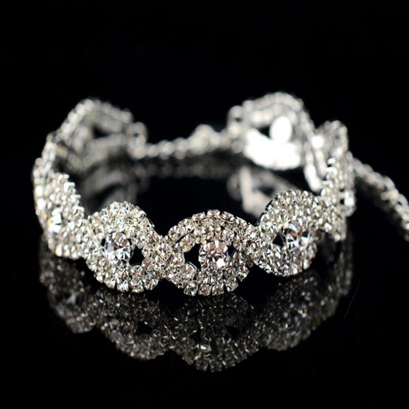 2019 New Fahison Elegant Bright Women Lady Rhinestone Crystal Metal Chain Bracelet Bangle Wedding Jewelry Gift Silver Color(China)