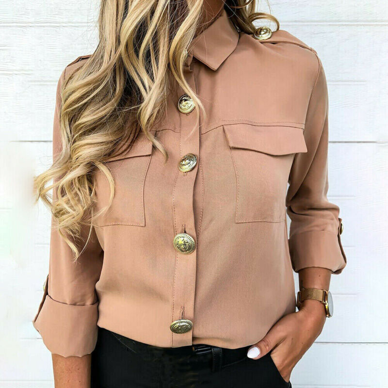 Women Solid Pattern Type Shirts Casual Style Button Decoration Full Sleeve Length Regular Clothing Turn-down Collar