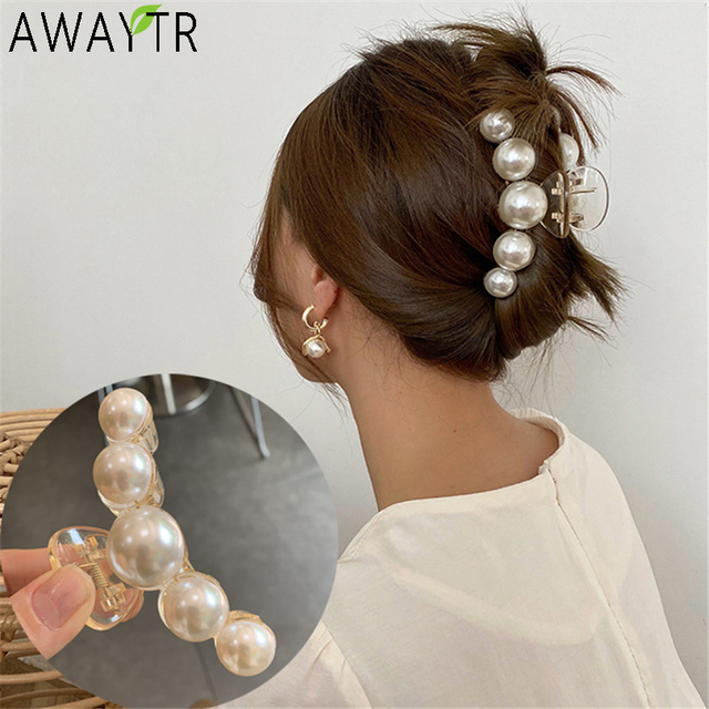 AWATYR 2020 New Hyperbole Big Pearls Acrylic Hair Claw Clips Big Size Makeup Hair Styling Barrettes for Women Hair Accessories 1