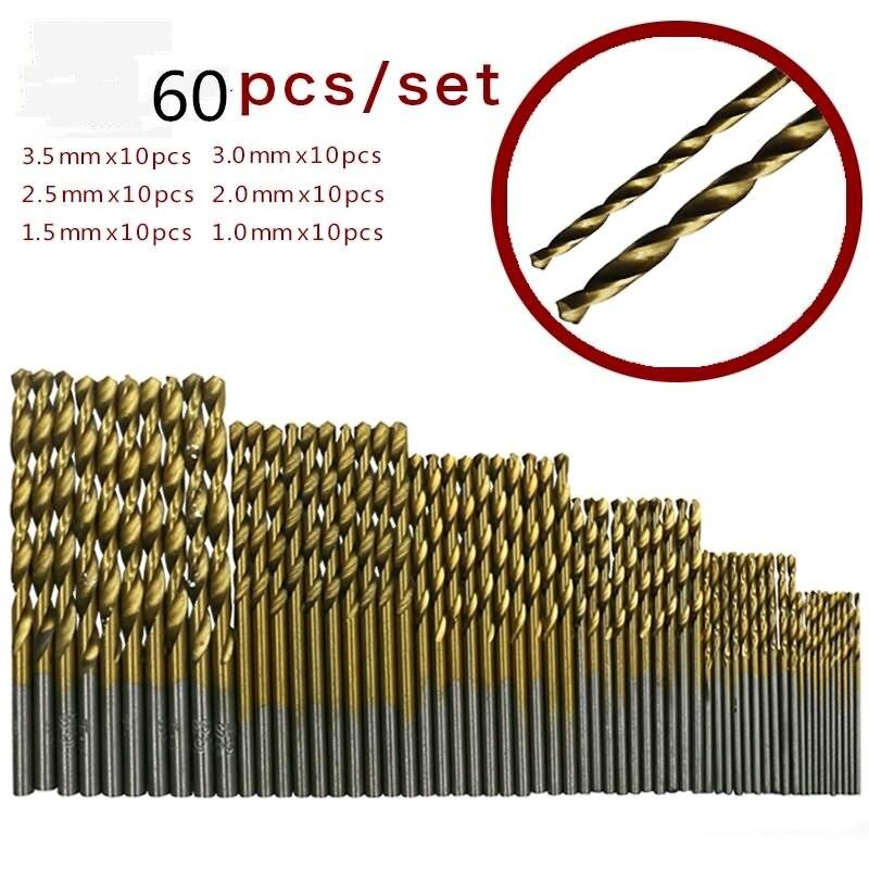 60pcs 1/1.5/2/2.5/3/3.5mm Titanium Coated HSS High Speed Steel Drill Bit Set Titanium For Wood Plastic Twist Drill Bit Set
