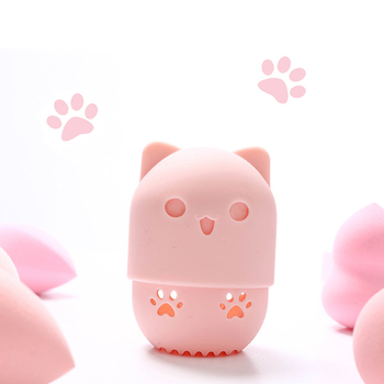 Kitten Silicone Powder Puff Drying Holder Egg Stand Beauty Pad Makeup Sponge Display Rack Cosmetic Blender Case Puff Holder 2 pcs makeup sponge holder drying stand