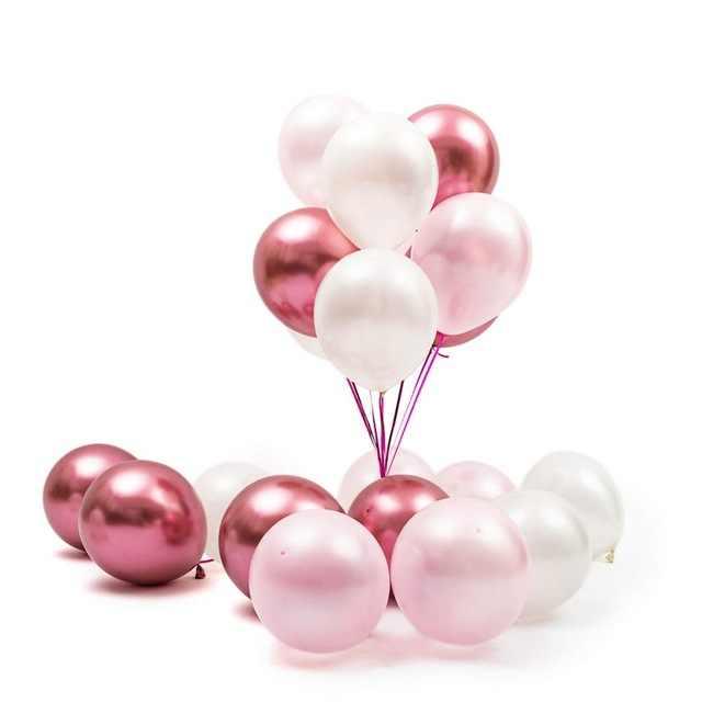 30 pçs/lote Cromo Prata Cromo Metálico Balão De Látex Rosa Tema da Festa de Casamento Nupcial do Chuveiro de Ar Decoração de Balões de Hélio