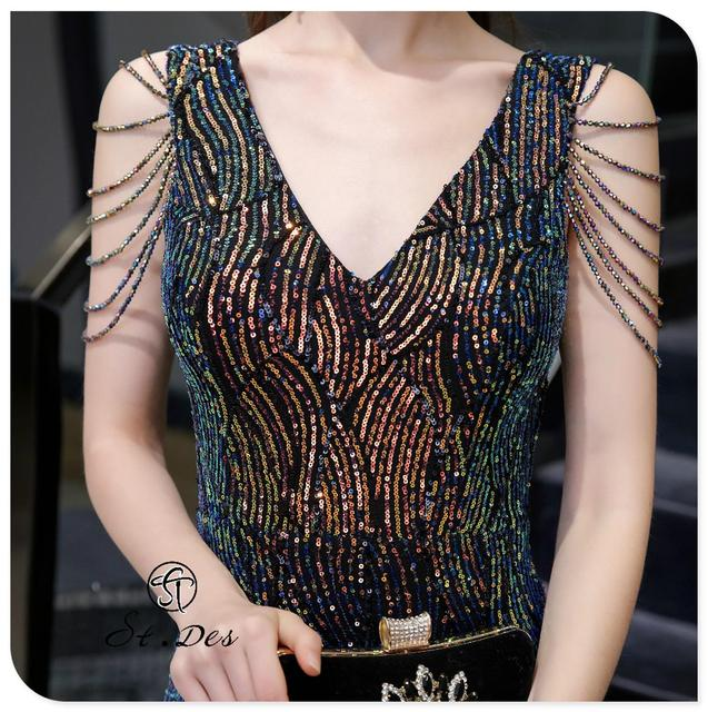 S.T.DES Evening Dress 2020 New Arrival colorful Beading Mermaid V-Neck colorful Sleeveless Floor Length Party Dress Dinner Gowns 4