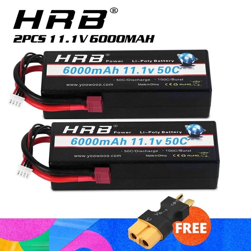 2pcs HRB 3S Lipo Battery 11.1v 6000mAh 50C Hard Case RC Battery Deans Plug For RC 1/8 1/10 Scale Vehicles Car Trucks Boat