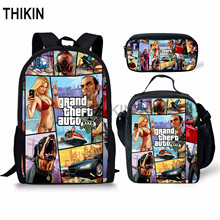 THIKIN Grand Theft Auto School Bags for Teenage Boys 3pcs/set Shoulder Cool Game GTA Backpack Set Girls Student Mochila