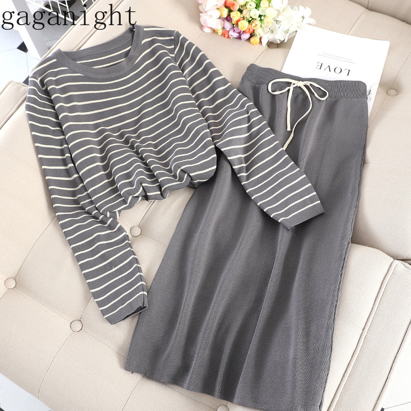 Gaganight Autumn Winter Outfit Women Two Piece Set Striped Long Sleeves O Neck Knitted Sweater Solid Long Skirt 2 Piece Set