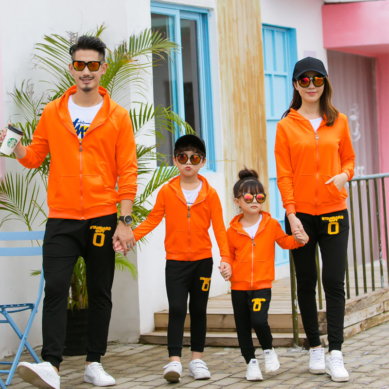 Autumn and winter sports suits family matching clothes look mommy me sweater boy girl father daughter son