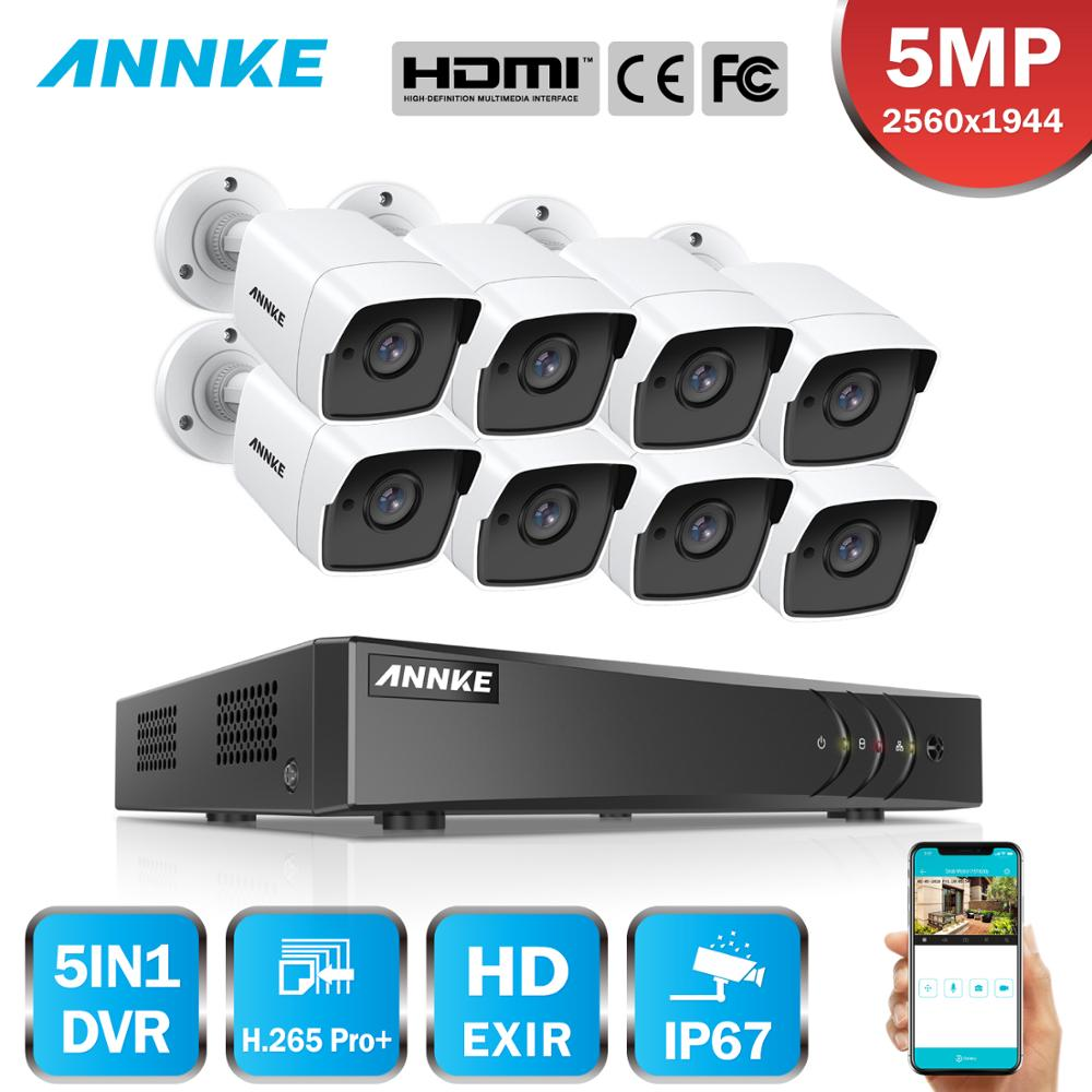 ANNKE 8CH 5MP 5IN1 Ultra HD Video Security Camera System H.265+ With 8PCS 5MP TVI Bullet Weatherproof Outdoor Surveillance Kit