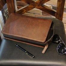 Brand New Fashion Mens Clutch Bag Casual Large Zipper Wallet Pocket Crazy Horse Pu Leather Small Handbag Purse