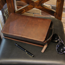 Pochette décontracté en cuir Pu pour hommes, grande pochette à fermeture éclair, pochette Crazy Horse, petit sac à main