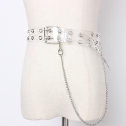 Cinturones transparentes Punk para mujer, con cadena, coloridos, transparentes, de doble fila, pantalones vaqueros con tirantes, pretina para niña
