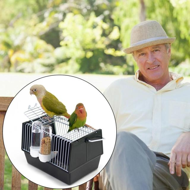 Birds Supplies Portable Bird Cage Parrot Transparent Transport Cage Plastic And Wire Bird Travel Carrier With Two Feeders 2