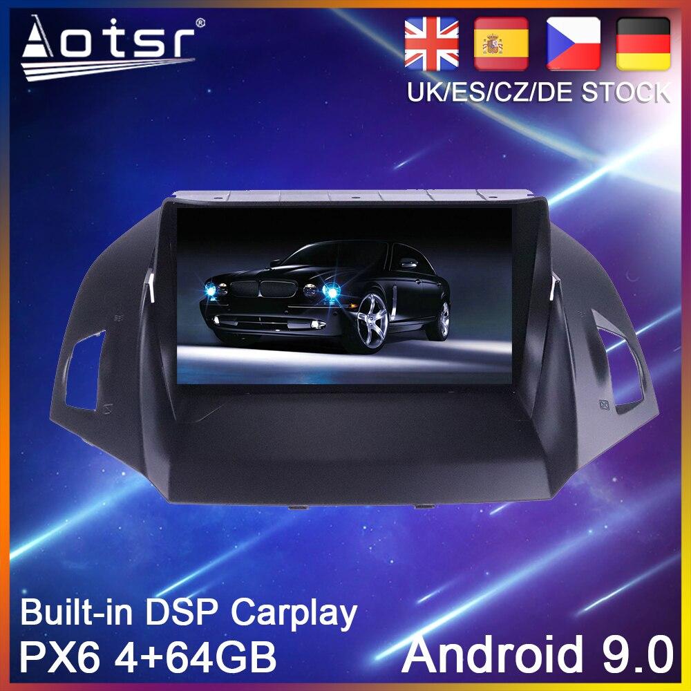 Автомобильный DVD плеер PX6, Android 10, 64 ГБ, GPS навигация для Ford Kuga 2 Escape 3 2012 2019, Авторадио, стерео, мультимедийный плеер, головное устройство