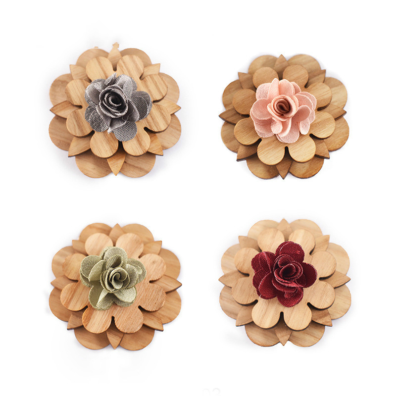 Wooden Bow Ties European And American Pure Hand-made Wooden Brooch High-end Retro Suit Dress Party Brooch