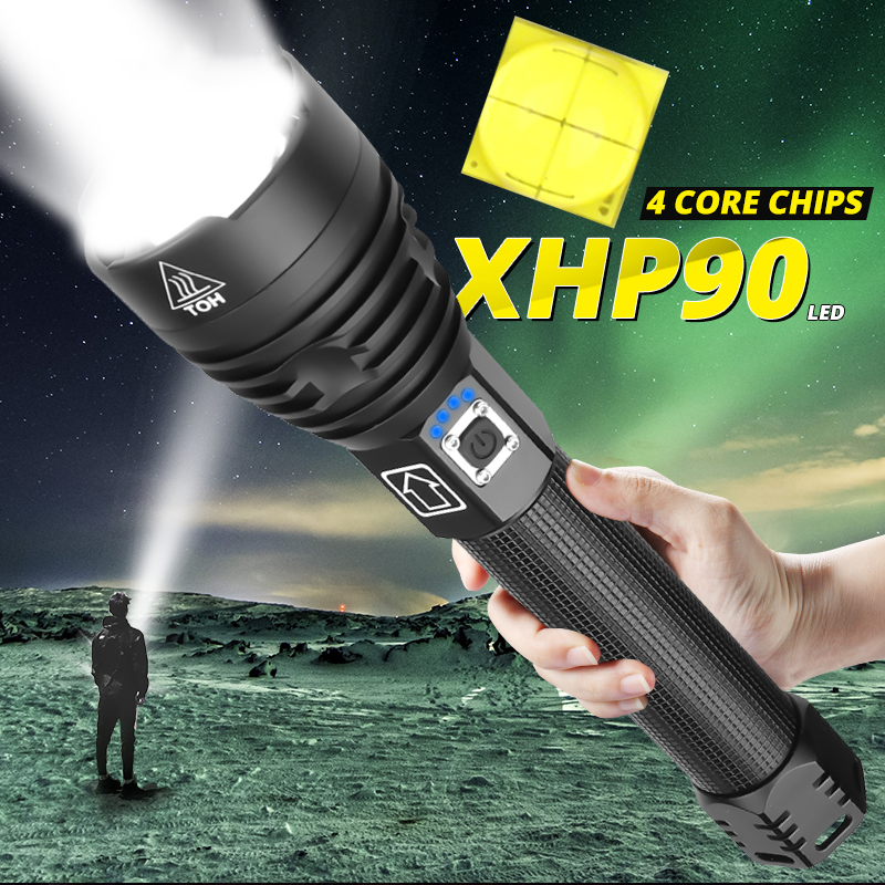 Led Flashlight High Power Rechargeable Usb Torch Powerful Xhp70.2 Lantern 18650 26650 Tactical Xhp90 Xhp70 Xhp50 Hunting Lamp