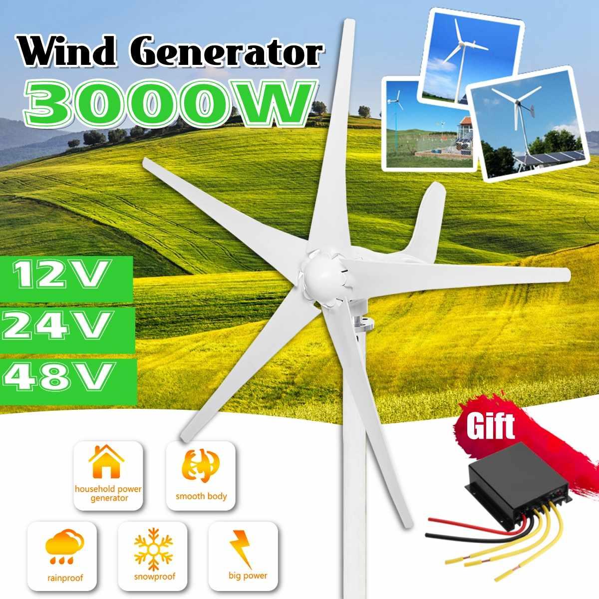 Générateur d'éoliennes de 3000W 12 V/24 V/48 V 5 lames avec l'utilisation libre de contrôleur de vent pour le réverbère solaire à la maison, bateau