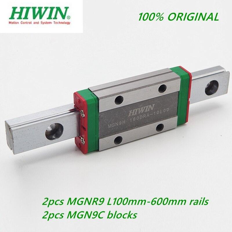 2 шт. оригинальная линейная направляющая Hiwin MGNR9-L 100-600 мм + 2 шт. MGN9C/MGN9H линейная каретка блока для ЧПУ